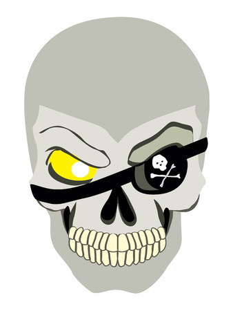 captain cap: Danger pirate skeleton in bandane vector portrait.