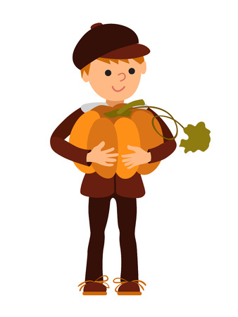 Vector illustration cute little boy holding a big pumpkin isolated on white background