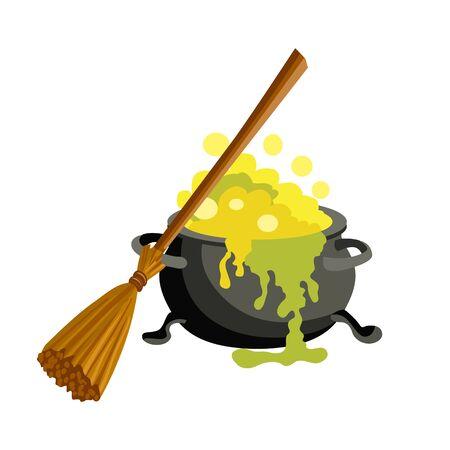 steam iron: Magic pot vector illustration isolated on white background. Illustration