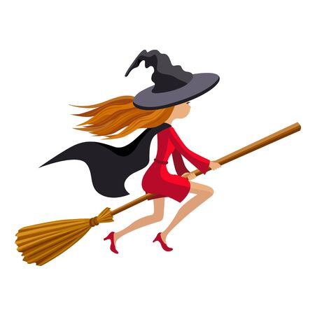 Cute witch flying on a broom isolated on a white background Illustration
