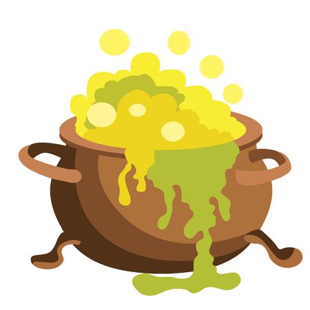 bucket of money: Magic pot vector illustration isolated on white background. Illustration