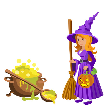 food poison: Vector cartoon image of funny witch with big cauldron potion on a white background. Halloween. Vector illustration.
