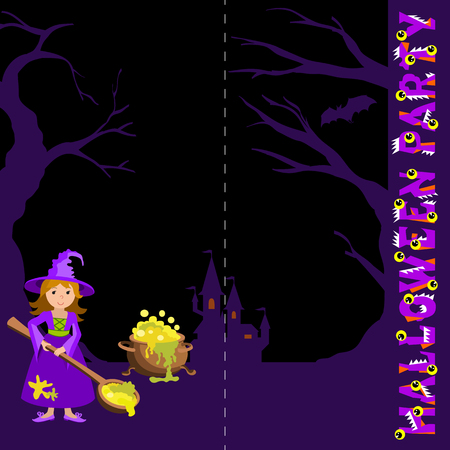 Halloween background with plase for your text with pumpkin trees and lettering