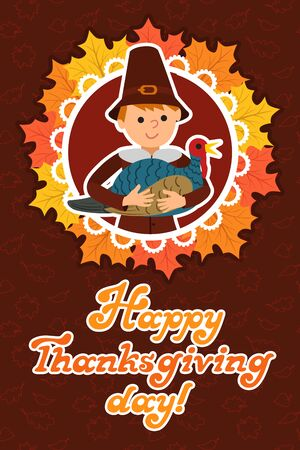 Thanksgiving day card with congratulations children vector illustration.