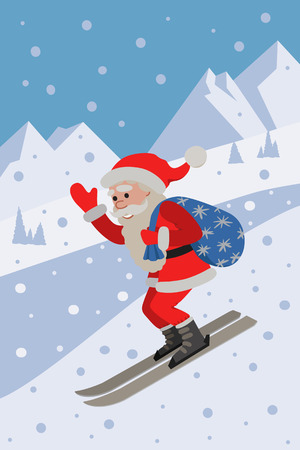 Vector illustration of skiing Santa on background the slope mountain. Winer sport. Illustration