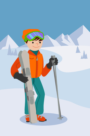 Flat design vector illustration of young man from the mountain by ski equipped.