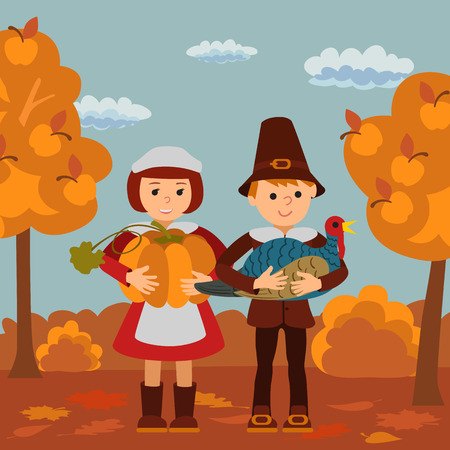 Thanksgiving day vector illustration with children pumpkin and turkey .