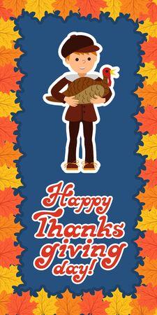 pilgrim costume: Thanksgiving day card with congratulations children vector illustration.