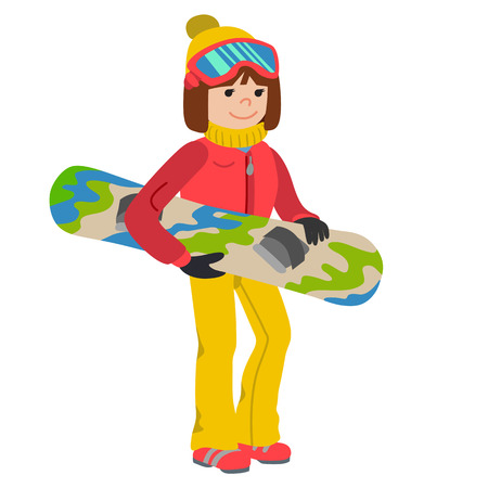 Flat design vector illustration of young woman from the mountain by snowboarding equipped.