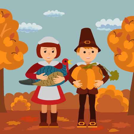 pilgrim costume: Thanksgiving day vector illustration with children pumpkin and turkey .