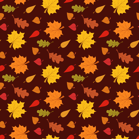 apparel part: Fall season seamless pattern with leafs on brown background Illustration