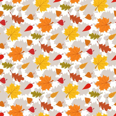 Fall season seamless pattern with leafs on white background Illustration