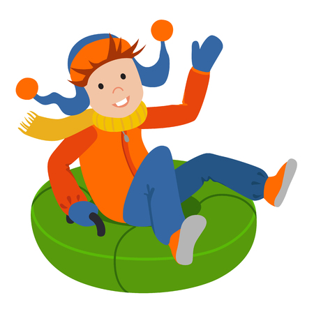 tubing: Cute child on snow tubing. Vector illustration.