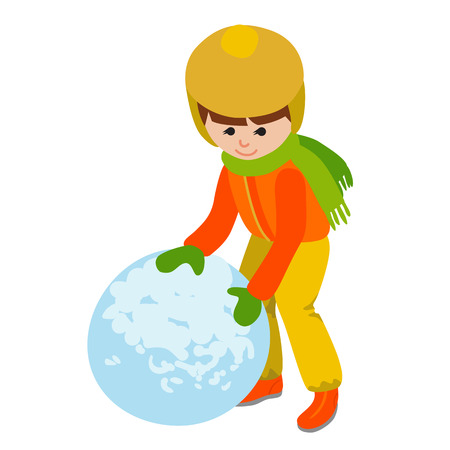 Child with a snowball. Vector illustration isolated on white background.