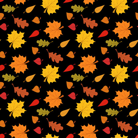 apparel part: Fall season seamless pattern with leafs on black background