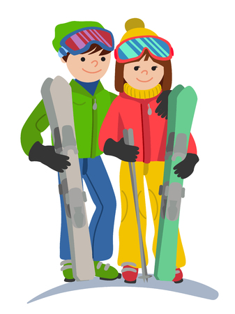 skiers: Happy couple of young people man and woman funny skiers in full growth.