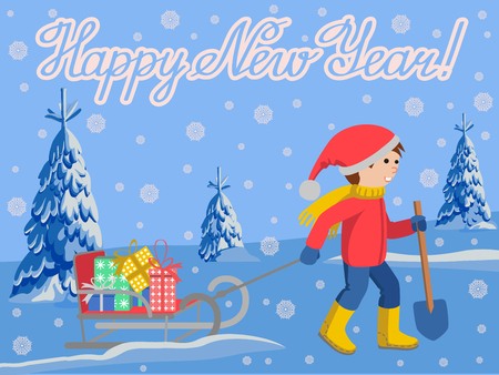 Vector illustration of congratulation card new year with little child in winter clothes pulling a sled, cartoon style vector illustration landscape fire in snow. Little kid in big scarf and warm winter clothes with a toboggan Illustration