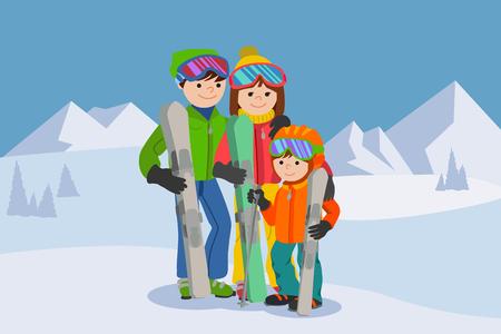 幸せな家族、男性、女性、少年が雪山でスキー