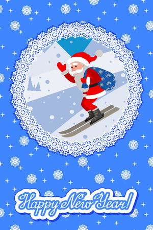 Vector illustration of skiing Santa on background the slope mountain. Winter sport christmas greeting card with lettering new year congratulation.