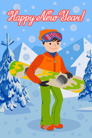 Smiling snowboarder man in winter ski sportswear, helmet and goggles standing with snowboard in hand. Winter outdoor activity, extreme sports and healthy lifestyle.