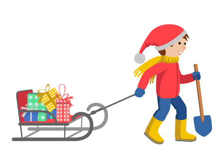 썰매, 만화 스타일 벡터 그림 흰색 배경에 고립 당기는 겨울 옷에 어린 소년. 큰 스카프와 따뜻한 겨울 옷에 작은 아이가 토 보간과 선물로