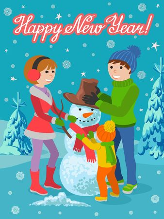 Family father, mother and daughter making snowman and hugging each other, cartoon vector illustration. Cheerful, happy family in winter clothes with a snowman and lettering congratulation.