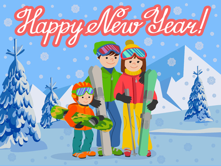 Congratulation card new year with man, woman, boy, skiing in snow mountain.