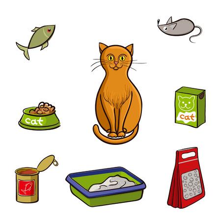Rote Katze und Zubehör für die Pflege. Vektor-Illustration auf weißem Hintergrund