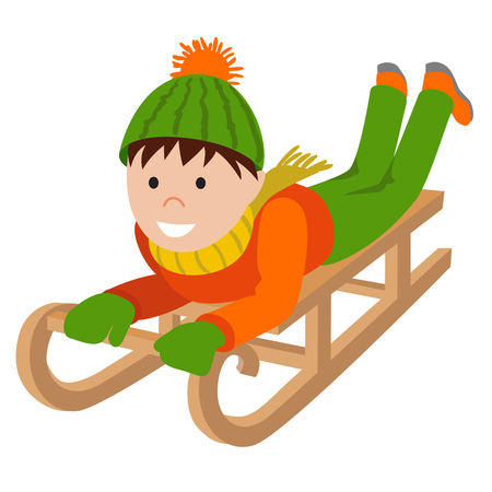 Cute child on snow sledding. Vector illustration of little boy playing in winter isolated on white background.