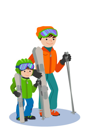 Happy Father and son skiing in snow mountain Illustration