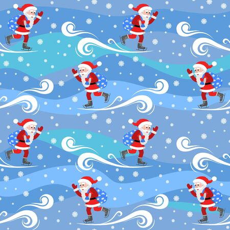 ongoing: Seamless vector pattern on the theme of the new year. Santa Claus skates with a bag of gifts.