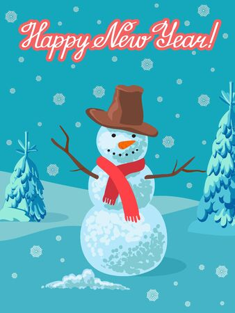 Vector illustration of snowman outdoor. Greeting card new year winter landscape with lettering.