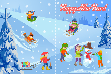 tubing: Vector illustration of new year congratulation card on winter landscape happy children sculpts snowman, sledding, tubing, parents and kids. Fir trees in snow, lettering handwriting text.