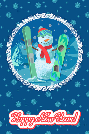 Vector illustration winter sport card congratulation new year. with snowman outdoor on mountain ski and snowboard.