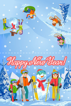 Vector illustration of new year congratulation card with winter landscape happy family and snowman with ski, sledding, parents and kids. Fir trees in snow and lettering. Illustration