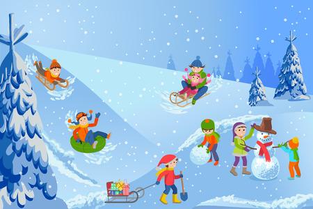 Illustrazione vettoriale del paesaggio invernale bambini felici che giocano con pupazzo di neve, slittino, tubing, genitori e bambini.