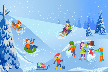 Vector illustration of winter landscape happy children playing with snowman, sledding, tubing, parents and kids.