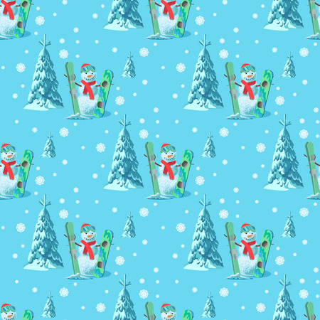 An endless pattern Christmas theme. Vector seamless illustration of a snowman in a ski outfit with snow-covered trees, mountains. Illustration