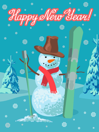 Snowman with ski outdoor winter landscape. Greeting card new year with lettering.