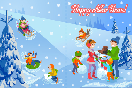 Vector illustration of new year congratulation card on winter landscape happy family sculpts snowman, sledding, tubing, parents and kids. Fir trees in snow, lettering handwriting text.