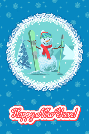 Snowman with ski outdoor winter landscape. Greeting card new year with lettering on round snowflakes frame.