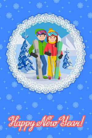 skiers: Vector illustration of congratulation card new year. Happy couple of young people man and woman funny skiers with lettering in round snowflakes frame. Illustration