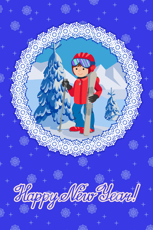 chrismas card: Flat design vector illustration of little boy from the mountain by ski equipped. Congratulation card new year with lettering. Illustration