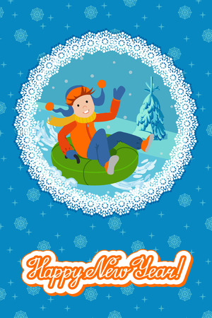 tubing: Cute child on snow tubing. Vector illustration new year card.