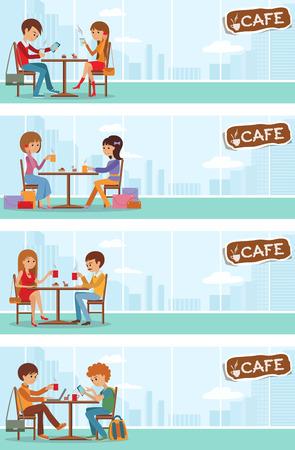 Paare von Menschen im Café essen, trinken und Nutzung Telefon. Vorlagen für Flyer und Banner. Vector Illustration mit Männern und Frauen an den Tischen mit Stadtlandschaft im Fenster.