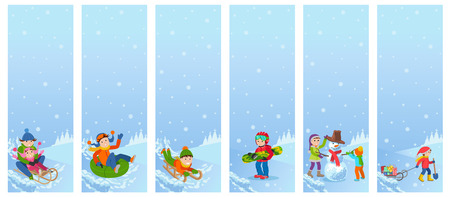 Vector illustration of children playing in the street in winter. Kids sculpts snowman, riding the hills on sleds, tubing, joyful. Pattern isolated on white background.