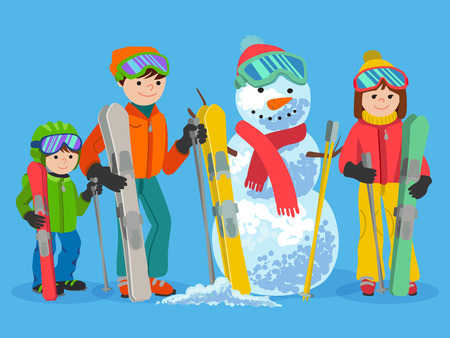 skiers: Family portrait of father, mother and daughter and snowman cartoon vector illustration on blue background. Happy skiers winter sport concept. People with ski equipment in winter clothes.