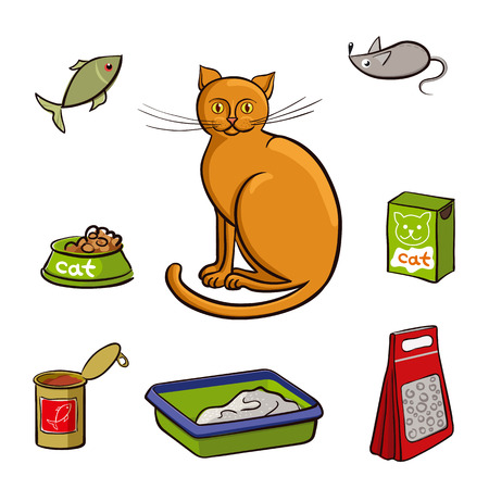 toy toilet bowl: Red cat and accessories for care. Vector illustration on white background