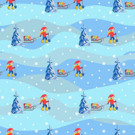 Vector seamless illustration of winter happy children with sled and gifts