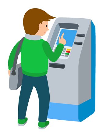Vector illustration of man using ATM machine in flat style isolated on white background.